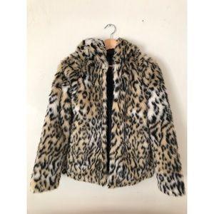 Faux Leopard Fur Hooded Coat